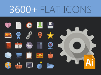 3600 iconos flat vectoriales