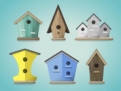 Iconos casas de pajaros