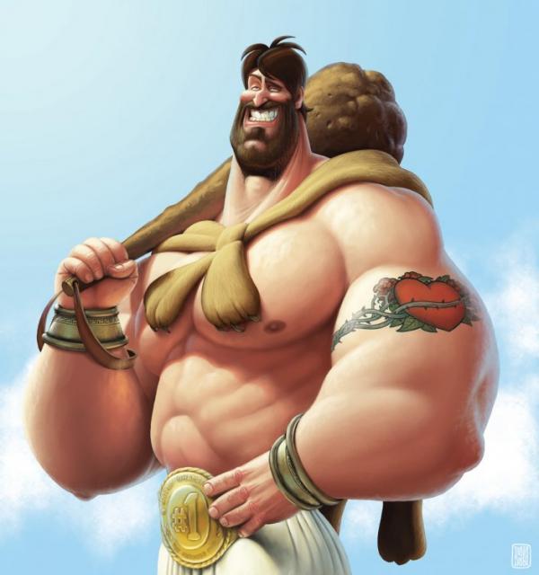 Ilustraciones graciosas y creativas el musculoso
