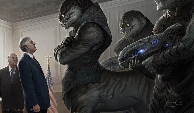 Ilustraciones presidente y aliens