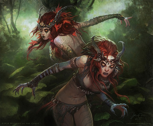 Ilustraciones vampiras en bosque