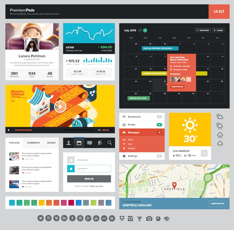 Kit de elementos UI estilo Flat