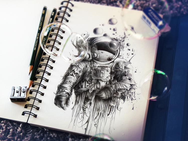 Impresionantes dibujos con lápiz astronauta