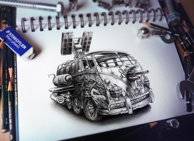 dibujos a lápiz combi