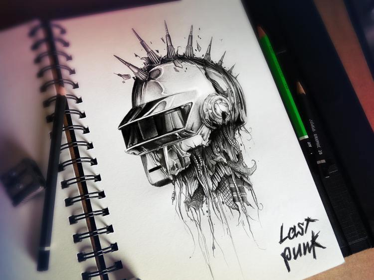 dibujos a lápiz daft punk