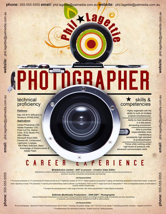 diseño de currículum fotografía