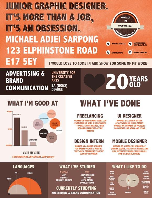 diseño de currículum infografía retro