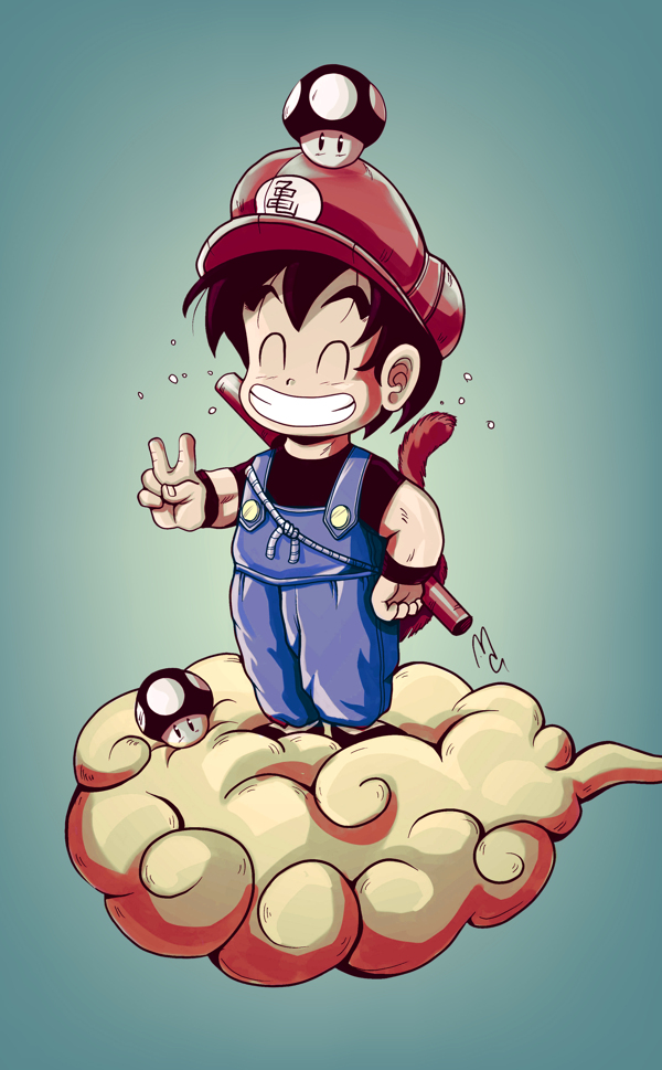 FanArt fusión entre Goku y Mario Bros