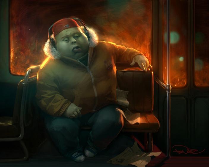 ilustraciones 2D chino en el metro