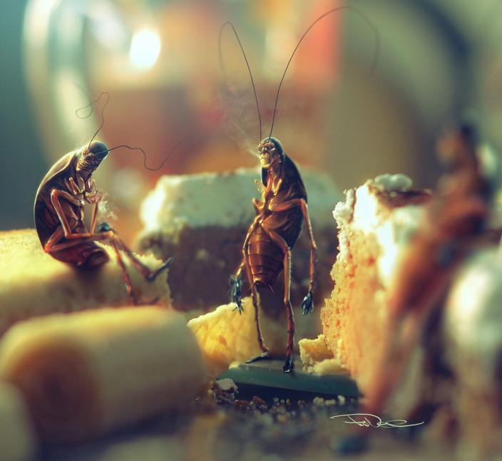 ilustraciones 2D cucarachas fumadoras