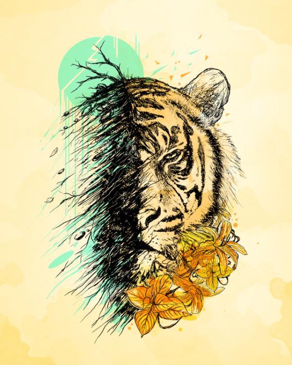 ilustraciones conceptuales tigre
