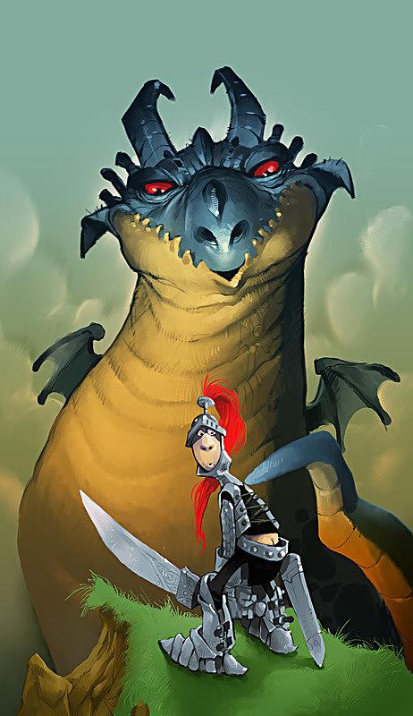 ilustraciones dragon y caballero