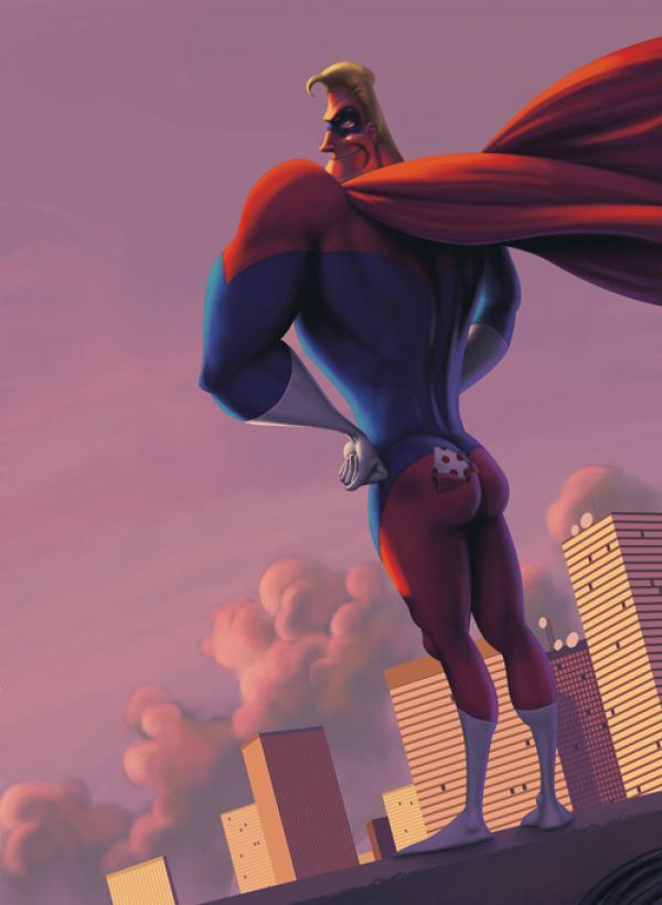 ilustraciones graciosas super heroe