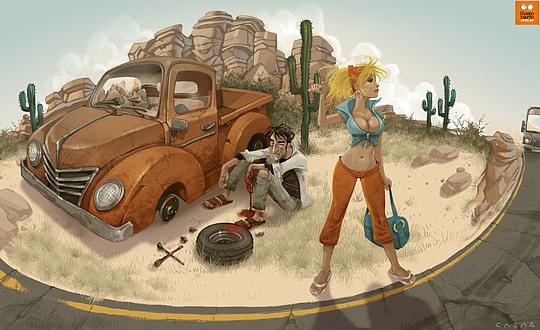 ilustraciones mujer en carretera