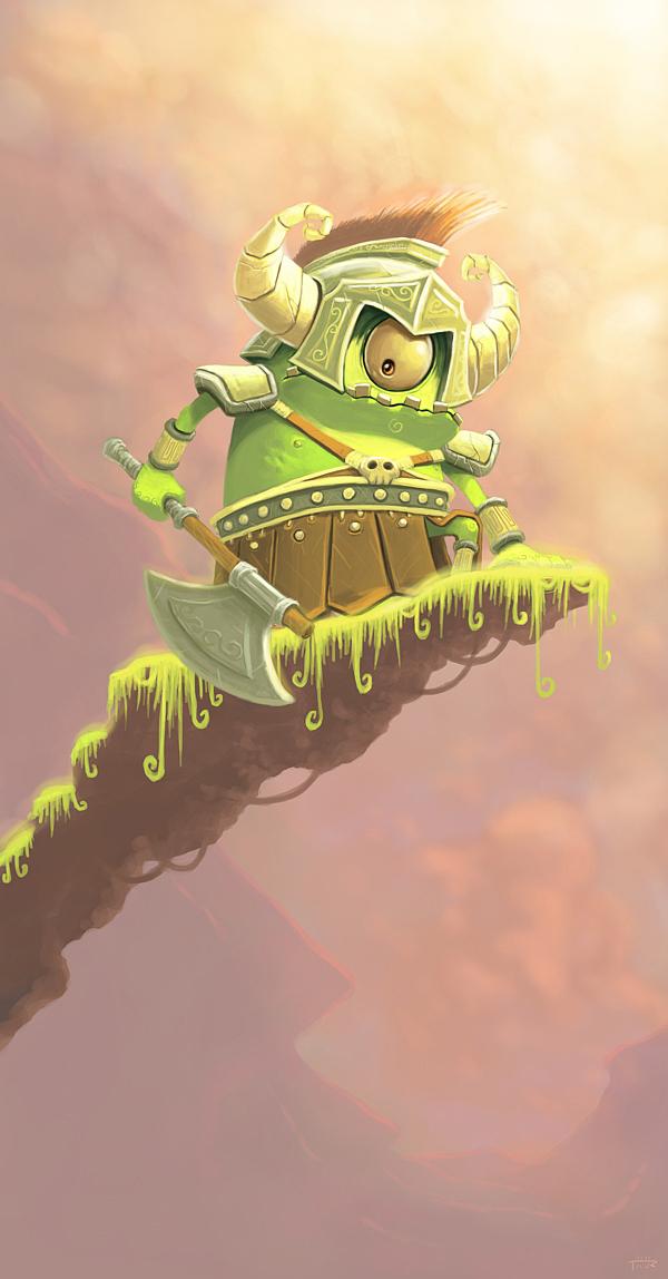 ilustraciones pequeño moustruo guerrero