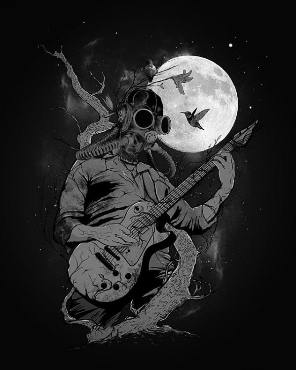 ilustraciones surrealistas guitarra
