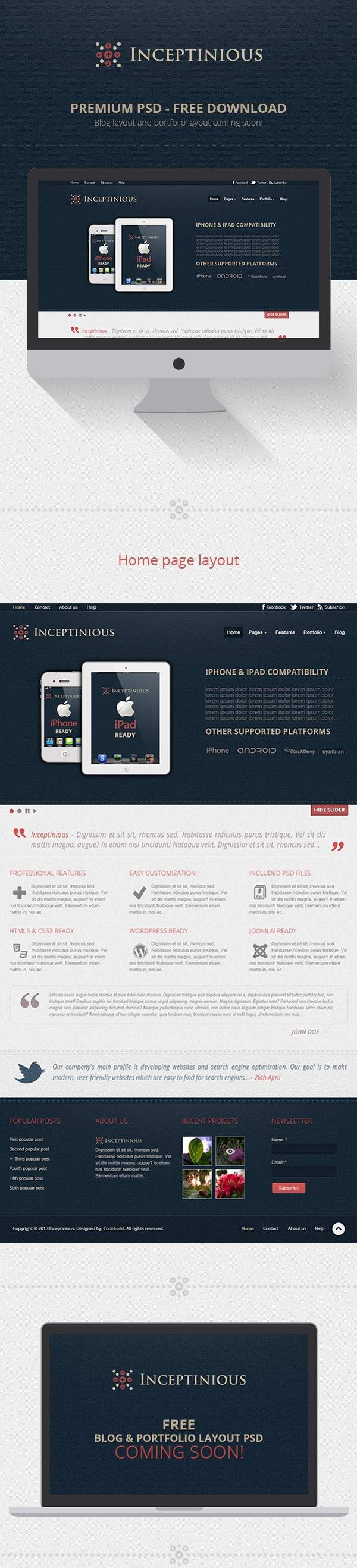 Plantilla web PSD para negocios