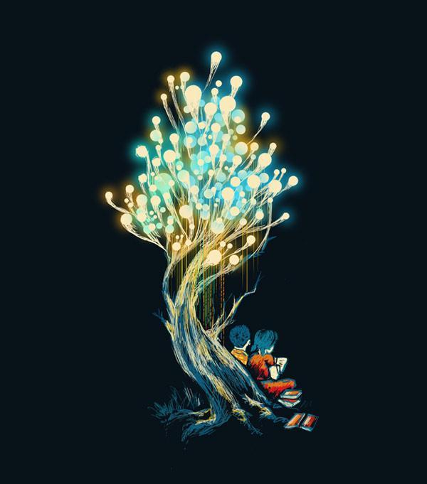 Ilustraciones de playeras arbol de luces