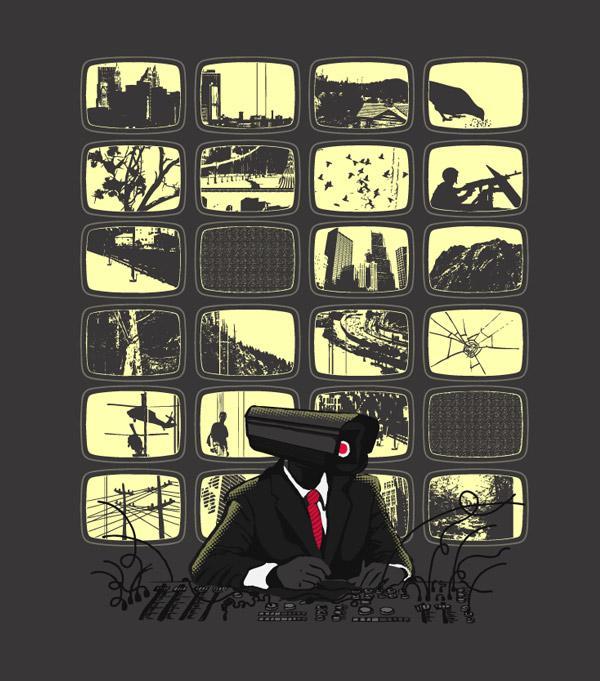 Ilustraciones playeras camaras espia
