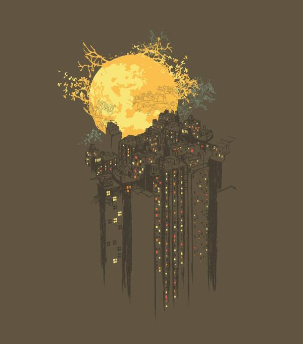 Ilustraciones playeras luna sobre la ciudad