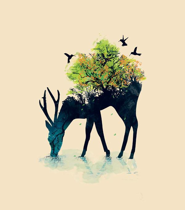 Ilustraciones creativas venado