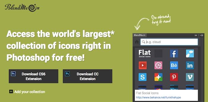 Extensión Photoshop para buscar iconos