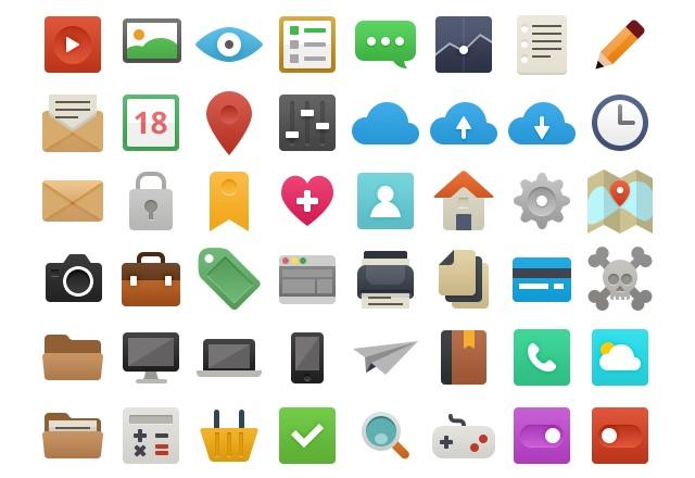 paquete con 48 iconos flat gratis