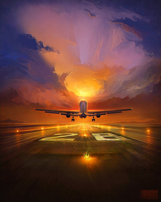 Increíbles pinturas digitales por RHADS avion despegando