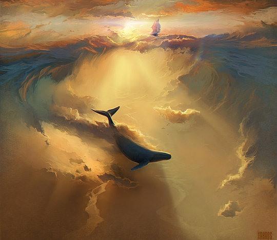 ilustración ballena en el cielo