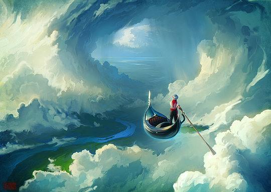 ilustración canoa en el cielo