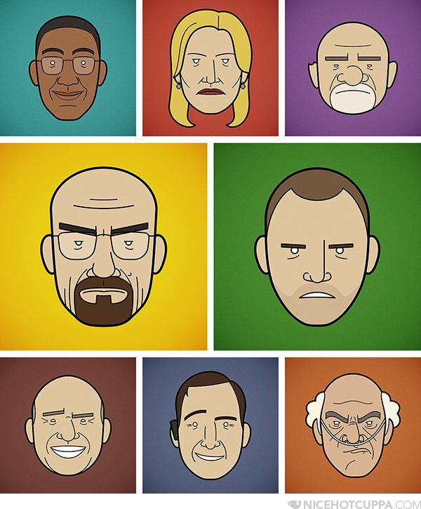 Ilustraciones de la serie Breaking Bad, Por Rob Barrett de Londres
