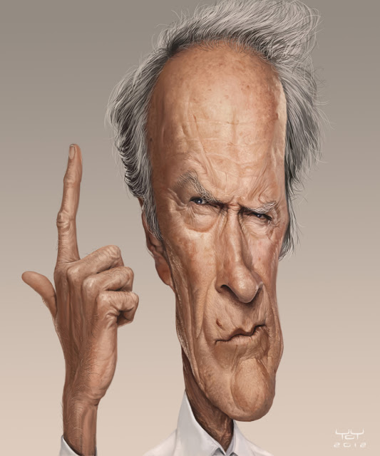Graciosas caricaturas de artistas Clint Eastwood