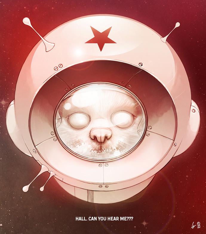 ilustraciones gato en el espacio
