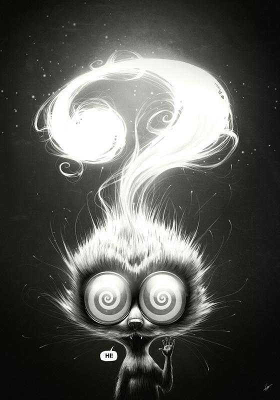 ilustraciones gato hipnotizado saludando