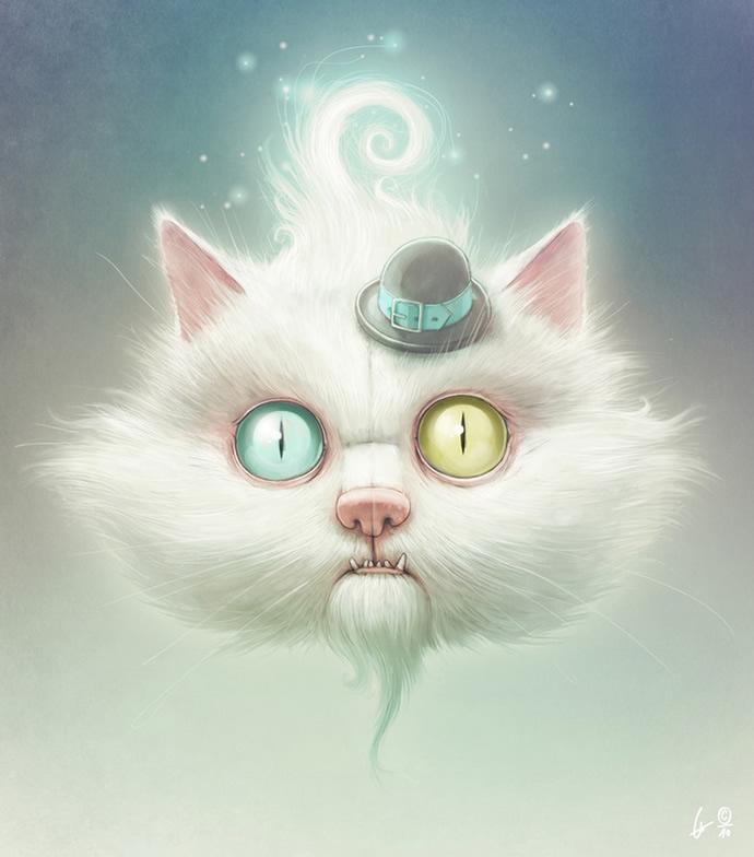 ilustraciones gato raro
