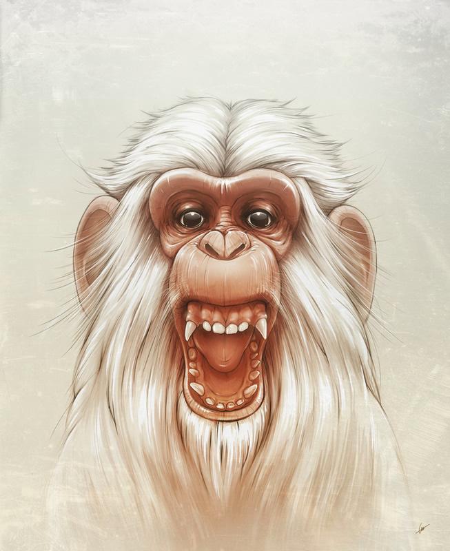 ilustraciones mono blanco gritando