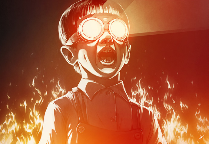ilustraciones niño asustado