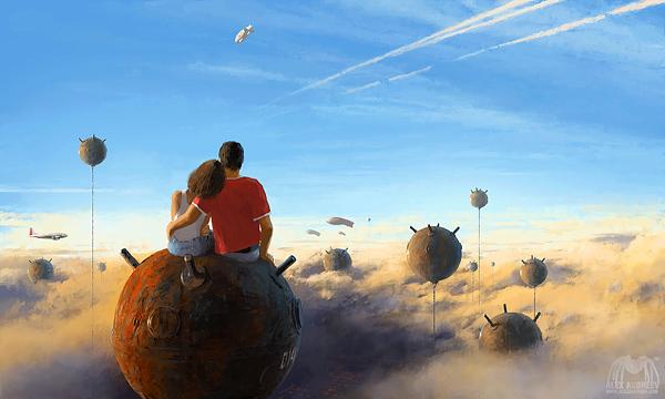 Ilustraciones surrealistas por Alex Andreev bombas en el cielo