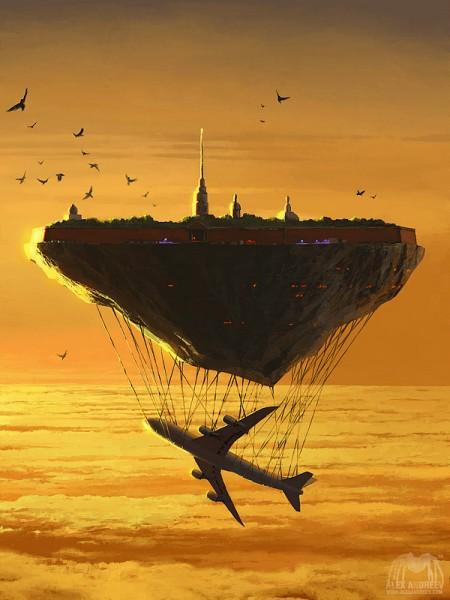 ilustraciones surrealistas ciudad flotante avion