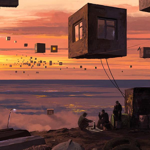 ilustraciones surrealistas cuartos flotantes