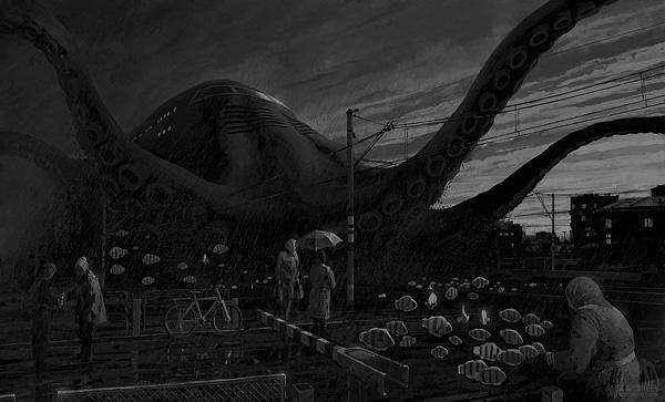 ilustraciones surrealistas nave pulpo