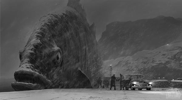 ilustraciones surrealistas pez gigante encallado