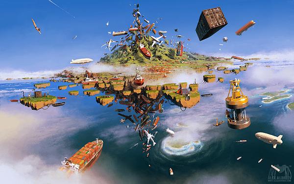 ilustraciones surrealistas transportes flotando