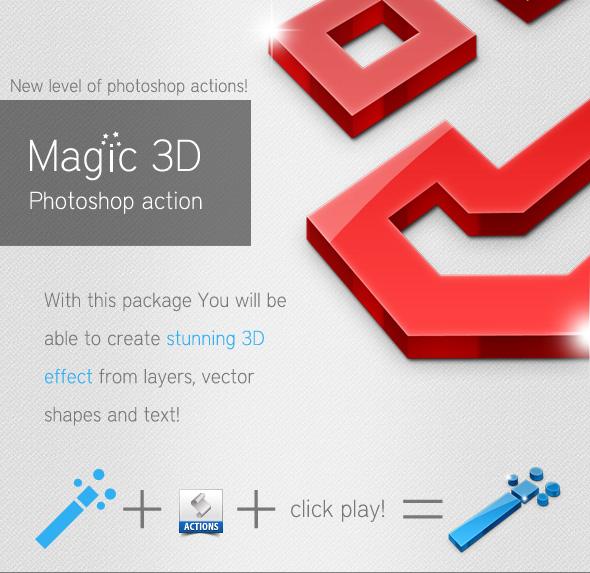 Acción Photoshop para convertir formas en 3D