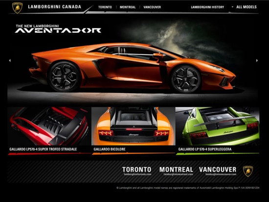 Diseños de paginas web de autos, Lamborghini Canada