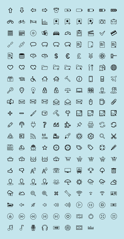 200 Iconos lineales