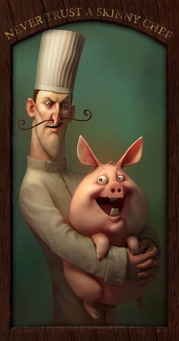 Personajes de caricaturas 3D, El chef y el cerdito feliz