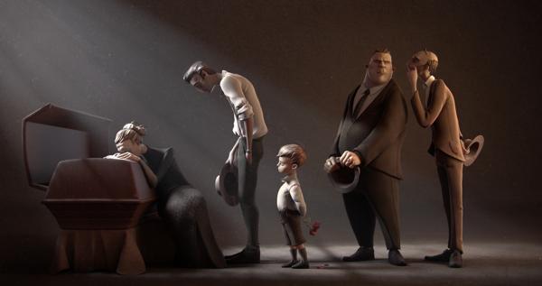 Familia en el funeral