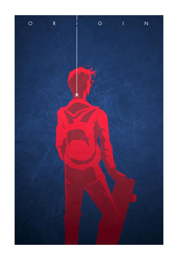 Ilustraciones del origen de los superheroes
