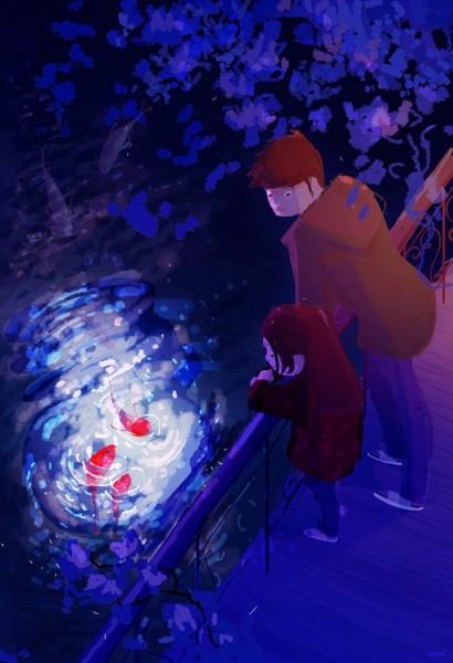 ilustracion niños viendo pescados